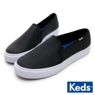 【Keds】經典皮革舒適休閒便鞋(黑)  Keds