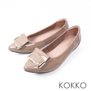 【KOKKO集團】雨後的天空尖頭漆皮平底鞋(清新粉)  KOKKO集團
