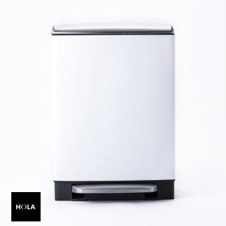 【HOLA】赫拉方形緩降防指紋垃圾桶12L白  HOLA