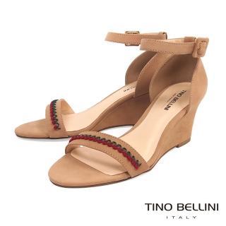 【TINO BELLINI 貝里尼】巴西進口典雅繡花繫踝楔型涼鞋A83036(奶茶色)  TINO BELLINI 貝里尼