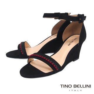 【TINO BELLINI 貝里尼】巴西進口典雅繡花繫踝楔型涼鞋A83036(黑)好評推薦  TINO BELLINI 貝里尼