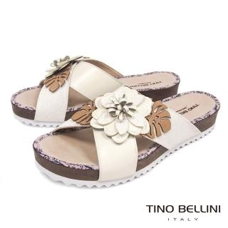 【TINO BELLINI 貝里尼】巴西進口多層次立體繁花厚底涼拖鞋A83059(米白)  TINO BELLINI 貝里尼