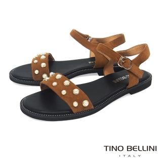 【TINO BELLINI 貝里尼】綺麗華美鑲嵌珍珠平底涼鞋A83090(棕)  TINO BELLINI 貝里尼