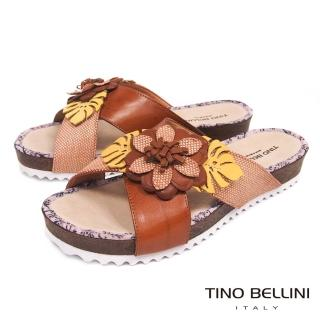【TINO BELLINI 貝里尼】巴西進口多層次立體繁花厚底涼拖鞋A83059(棕)推薦折扣  TINO BELLINI 貝里尼