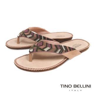 【TINO BELLINI 貝里尼】巴西進口民族風情繽紛珠飾夾腳涼拖鞋B83240(粉)好評推薦  TINO BELLINI 貝里尼