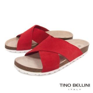 【TINO BELLINI 貝里尼】西班牙進口簡約真皮交叉平底涼拖鞋B83219(紅) 推薦  TINO BELLINI 貝里尼