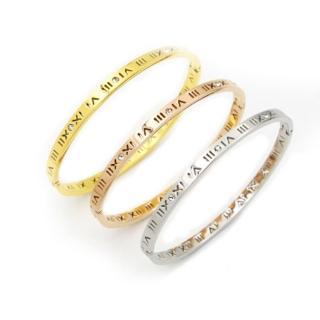 【RJ New York】羅馬數字密碼簡約簍空鈦鋼鑲水鑽手環(3色可選)  RJ New York