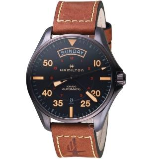 【HAMILTON 漢米爾頓】卡其航空系列DAY DATE AUTO機械腕錶(H64605531)  HAMILTON 漢米爾頓