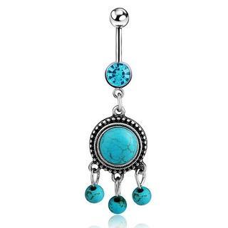 【RJ New York】民族流蘇綠松石藍水鑽不鏽鋼肚臍環(藍色)  RJ New York