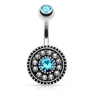 【RJ New York】與神之眼土耳其藍漾水鑽肚臍環(藍色)強力推薦  RJ New York