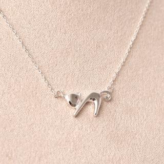 【玖飾時尚】925純銀俏皮幾何貓咪項鍊(925純銀)  玖飾時尚