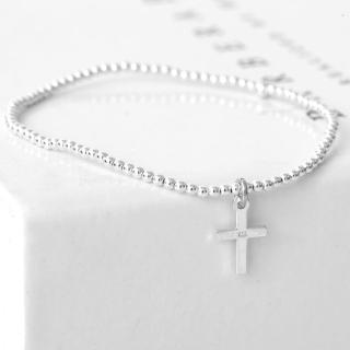 【玖飾時尚】925純銀十字架彈性手鍊(925純銀)  玖飾時尚