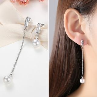【梨花HaNA】韓國925銀優雅魅力鋯石珍珠垂墜不對稱耳環推薦折扣  梨花HaNA