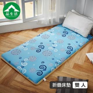 【品生活】冬夏兩用青白鋪棉床墊5x6尺雙人_藍色花語(學生租屋族首選)  品生活