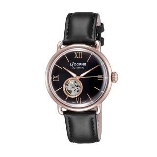 【LICORNE】力抗 光陰系列半鏤空設計手錶(玫瑰金x黑 LT140MRBB)  LICORNE