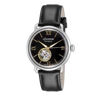 【LICORNE】力抗 光陰系列半鏤空設計手錶(銀x黑 LT140MWBB)  LICORNE