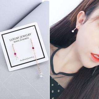 【梨花HaNA】韓國925銀針細膩氣質紅寶石流線不對稱耳環強力推薦  梨花HaNA