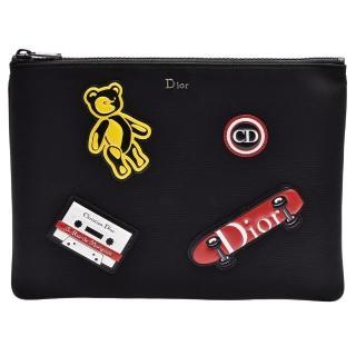 【Dior 迪奧】Rider系列品牌金屬字母鑲嵌拼塊圖案皮革飾邊拉鍊尼龍手拿包(黑2PECA161YHJ_H03E)  Dior 迪奧