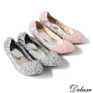 【Deluxe】全真皮俏皮閃亮串珠超柔軟娃娃鞋(黑☆紫☆金☆銀☆粉)  Deluxe