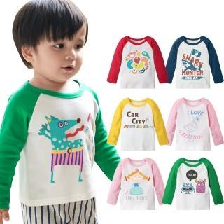【Baby童衣】純棉撞色插肩長袖自印款 66332(共10色)  Baby童衣