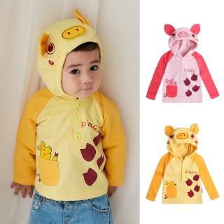 【Baby童衣】兒童上衣 小豬造型毛圈長袖T恤 連帽上衣 82046(共2色)好評推薦  Baby童衣