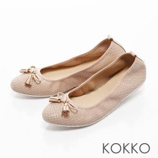 【KOKKO集團】復古雅緻蝴蝶結真皮休閒平底鞋(杏膚)  KOKKO集團