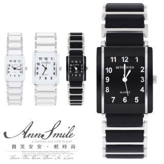 【微笑安安】簡約方形數字仿陶瓷帶腕錶(共2色)推薦折扣  微笑安安