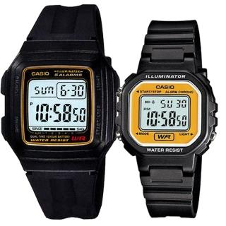 【CASIO 卡西歐】實用運動熱賣男女對錶(F-201WA-9A+LA-20WH-9A)  CASIO 卡西歐
