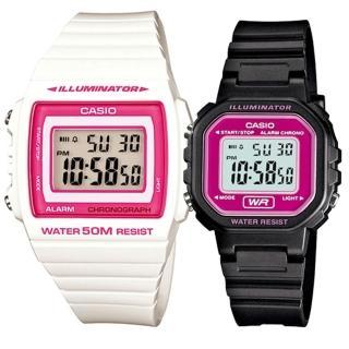 【CASIO 卡西歐】實用運動熱賣男女對錶(W-215H-7A2+LA-20WH-4A)  CASIO 卡西歐
