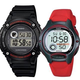 【CASIO 卡西歐】實用運動熱賣男女對錶(W-216H-1A+LW-200-4A)  CASIO 卡西歐
