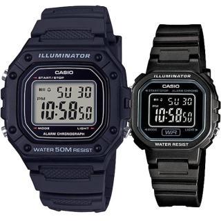 【CASIO 卡西歐】實用運動熱賣男女對錶(W-218H-1A+LA-20WH-1B)好評推薦  CASIO 卡西歐