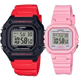 【CASIO 卡西歐】實用運動熱賣男女對錶(W-218H-4B+LA-20WH-4A1)好評推薦  CASIO 卡西歐