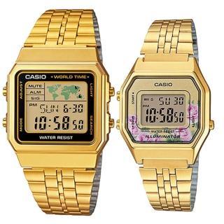 【CASIO 卡西歐】簡約時尚男女對錶(A-500WGA-1+LA-680WGA-4C)  CASIO 卡西歐