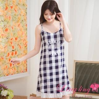【lingling】PA3715全尺碼-格紋英字細肩帶接棉質連身裙睡衣(都會藍格)強力推薦  lingling