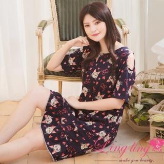 【lingling】PA3714全尺碼-棉質貓咪愛心荷葉裙襬連身睡衣(浪漫深藍) 推薦  lingling