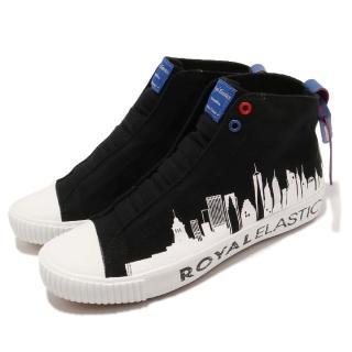 【ROYAL Elastics】休閒鞋 Harajuku 帆布 男鞋 都會圖騰 車輪鞋頭 球鞋 穿搭 黑 白(04783990)  ROYAL Elastics