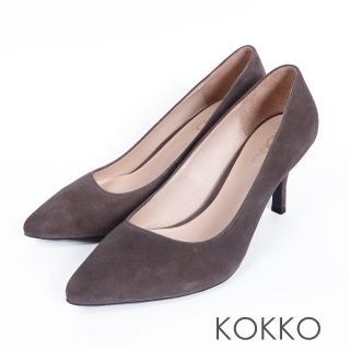 【KOKKO集團】經典素面鞋切尖頭麂皮高跟鞋(綠)  KOKKO集團