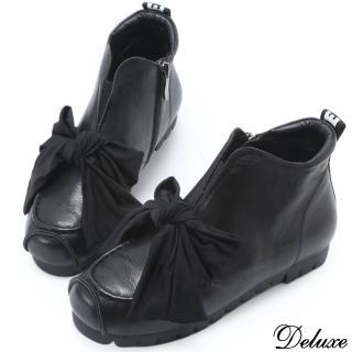 【Deluxe】全真皮俏皮帥氣蝴蝶綁帶厚底休閒鞋(黑)  Deluxe
