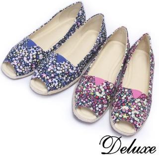 【Deluxe】夏日女神碎花印花魚口草編平底鞋(藍☆粉)真心推薦  Deluxe
