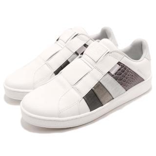 【ROYAL Elastics】休閒鞋 Prince Albert 低筒 男鞋 懶人鞋 皮革壓紋 橡膠大底 球鞋 白 灰(01483080)  ROYAL Elastics