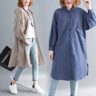 【A.Cheter】韓版兩穿寬鬆百搭細格排釦連帽襯衫式洋裝102850#*(3色)好評推薦  A.Cheter