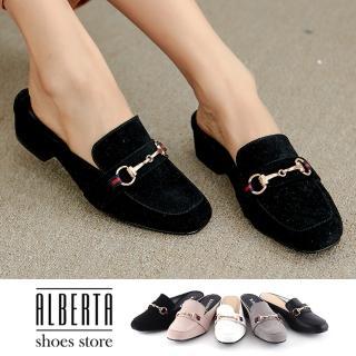 【Alberta】穆勒鞋-MIT台灣製 跟高4cm 簡約純色 穆勒鞋 包頭拖鞋 推薦  Alberta