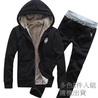 【NBL】J0282冬季加絨加厚連帽衛衣套裝(多色2件外套+2件棉長褲組套裝)  NBL