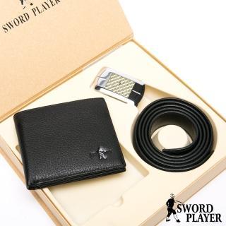 【SWORD PLAYER】莎普爾金編款真皮皮帶+10卡2照皮夾禮盒組  SWORD PLAYER