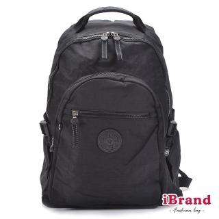 【i Brand】簡約素色超輕盈尼龍口袋後背包(都會黑)  i Brand