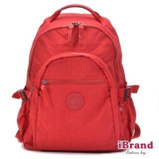 【i Brand】簡約素色超輕盈尼龍口袋後背包(質感紅)  i Brand