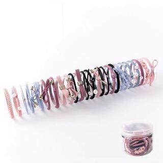 【梨花HaNA】韓國粉粉藍藍氣質珍珠髮圈12件套真心推薦  梨花HaNA