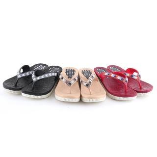 【Alberta】拖鞋-跟高4cm 水鑽方格拼貼 楔型鞋底涼拖鞋 夾腳拖 人字拖鞋 推薦  Alberta