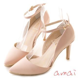 【amai】日系女孩尖頭繫踝高跟鞋(粉) 推薦  amai