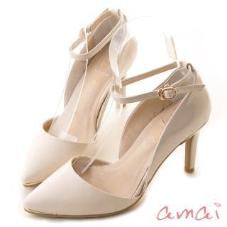 【amai】日系女孩尖頭繫踝高跟鞋(杏)強力推薦  amai
